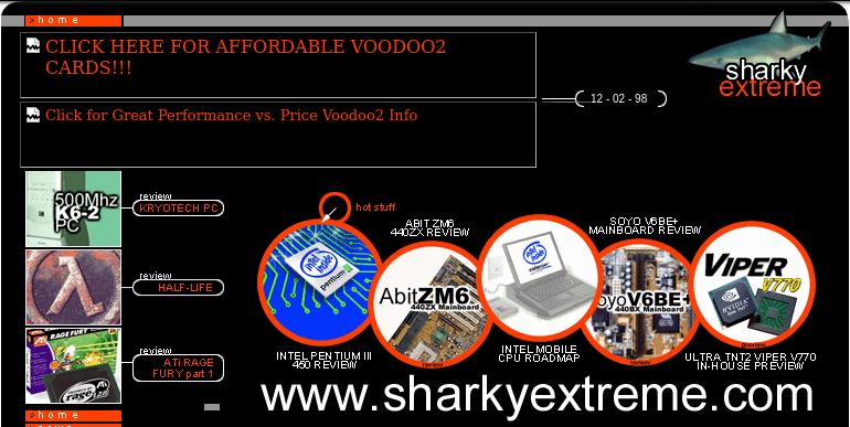 sharkyextreme.com screenshot from December 5, 1998